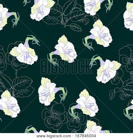 Pink Seamless pattern  with lilac and flowers.Spring  Vector Illustration