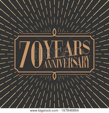 70 years anniversary vector icon logo. Gold color graphic design element for 70th anniversary birthday card