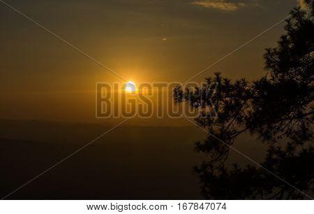 Sunset Pha Lom Sak A Valley Views At  Phu Kradueng National Park, Loei, Thailand.