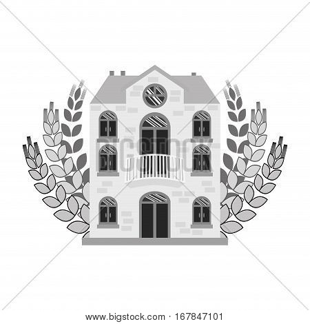grayscale beer canteen with wheat image design, vector illustration
