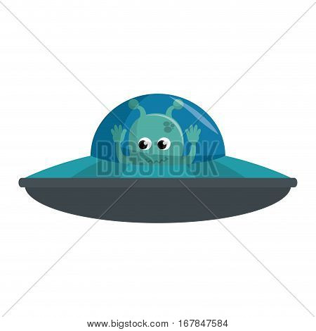 martian flying in the ufo vector illustration design
