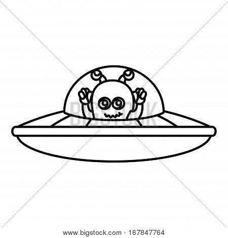 martian flying in the ufo vector illustration design