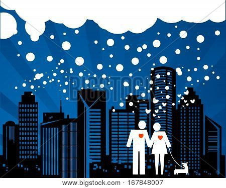 Couple and dog on the winter night city background
