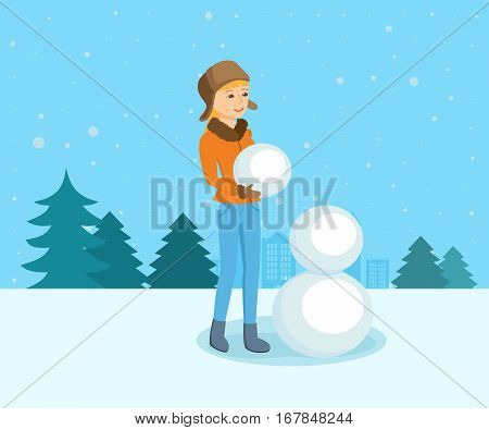 People and winter play concept. Young girl in winter clothes in the park sculpts snowman. Cartoon vector illustration isolated on white background.