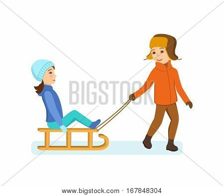 Kids favorite winter activities. The boy rolls girl on a snow-covered plain, both dressed in winter warm clothes, kids have fun and entertain. Vector illustration. Can be used in banner, design.