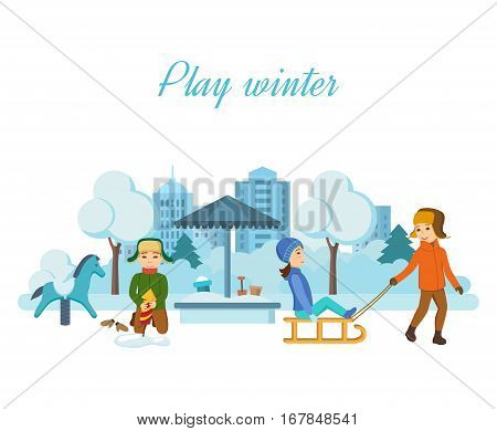 Kids favorite winter activities. The children play in the playground, setup firework rocket in a snowdrift to further its launch into the air, having fun and smiling. Vector illustration.