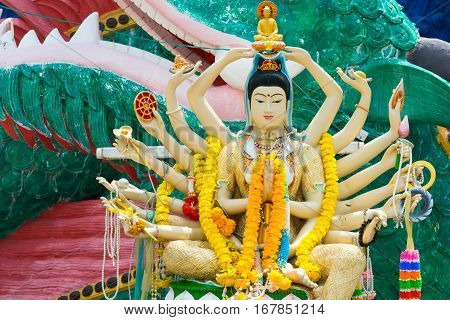 18 Hands God Statue Guan Yin In Wat Plai Laem Temple, Samui, Thailand