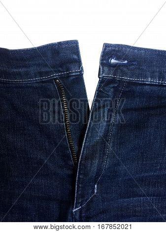 blue open denim jean pant showing zipper and copy space