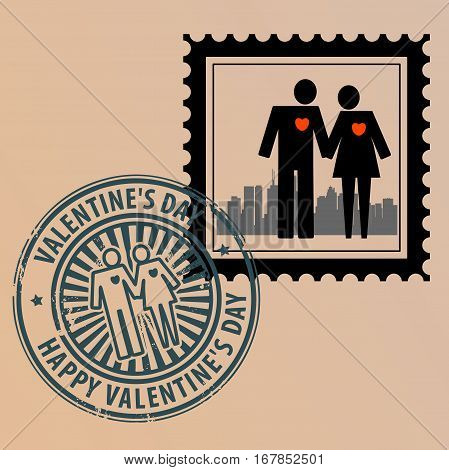 Postage stamp with couple and postmark with text Valentine Day