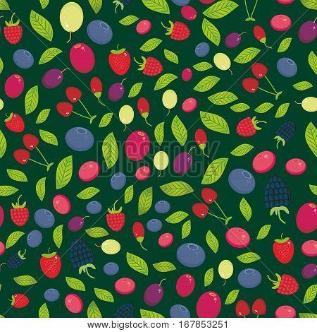 seamless pattern with Cherry Strawberry Raspberry Blueberry Cranberry Cowberry Goji Grape on dark green background. Vector illustration