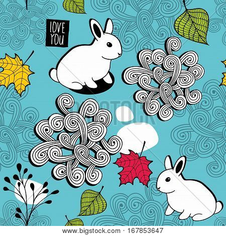 Seamless pattern with autumn leaves and small white rabbits. Vector illustration.