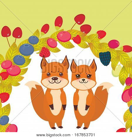 Round wreath cute kawaii fox with Cherry Strawberry Raspberry Blackberry Blueberry Cranberry Cowberry Goji Grapes on light green background. Vector illustration