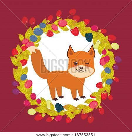 Round wreath cute kawaii fox with Cherry Strawberry Raspberry Blackberry Blueberry Cranberry Cowberry Goji Grapes on brown burgundy background. Vector illustration
