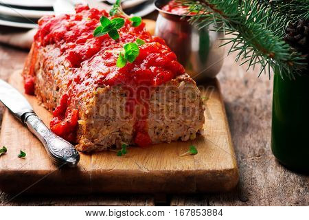 Hulled Barley Bread with tomato sauce.selective focus