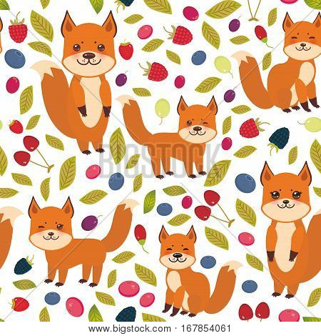 seamless pattern cute kawaii fox with Cherry Strawberry Raspberry Blackberry Blueberry Cranberry Cowberry Goji Grapes isolated on white background. Vector illustration