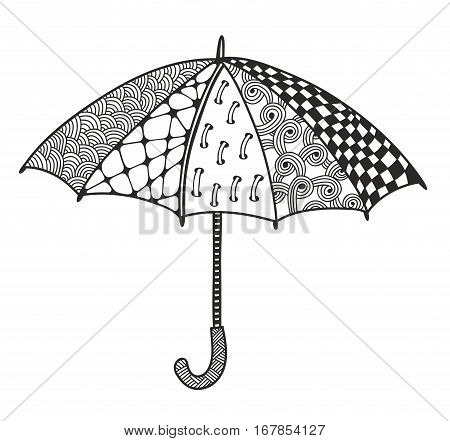 Doodle umbrella for coloring. Black and white hand drawn illustration in vector.