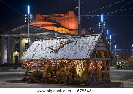 Katowice.., Poland.. - January 27, 2017: Night View Of The Theat