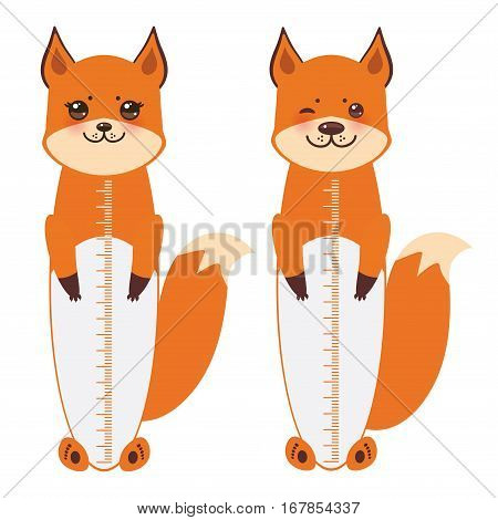 set of cute fox boy and girl with funny face and fluffy tails isolated on white background. Children height meter wall sticker kids measure. Vector illustration