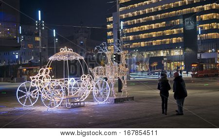 Katowice, Poland - January 27, 2017: Night View Of The City Cent