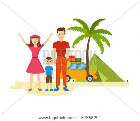 A young family is traveling in his car. Stops include a trip to get acquainted with the sights and sharing photos. Vector illustration. Can be used in banner, design.