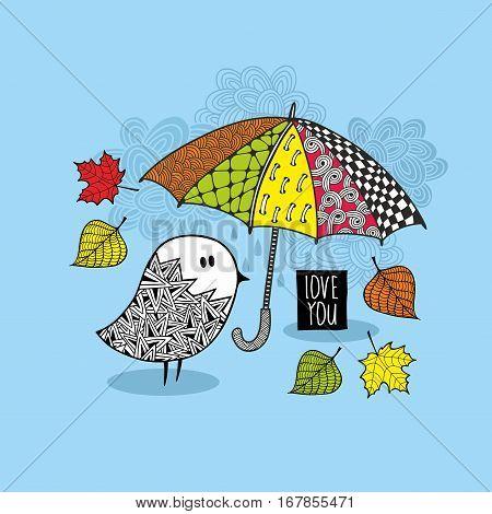 Romantic vector illustration. Cute doodle bird under the colorful umbrella.