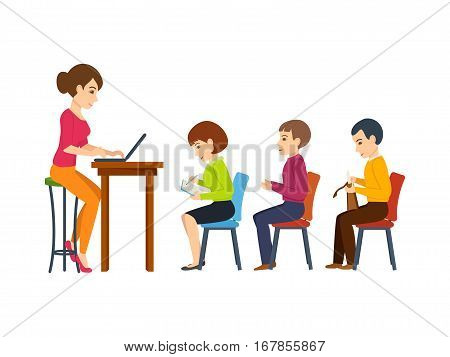 Young teacher, holds a lecture among students present in the audience, telling the new information while working at the computer. Vector illustration. Can be used in banner, mobile app.