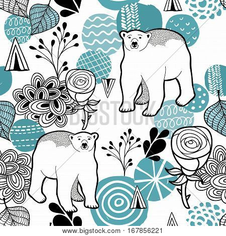 Polar bear seamless pattern. Vector illustration with design elements.