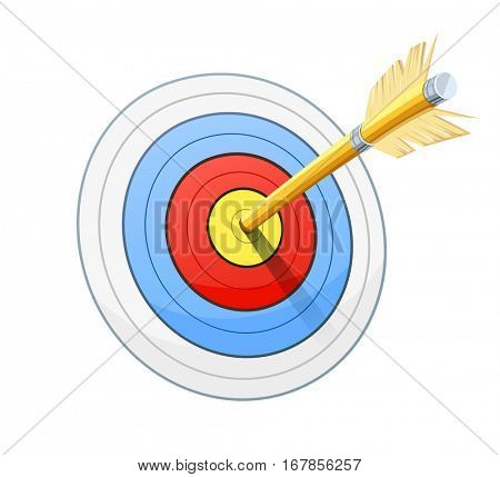 Arrow for bow shooting. Sport success. Luck. Performance. Vector illustration. Isolated white background.