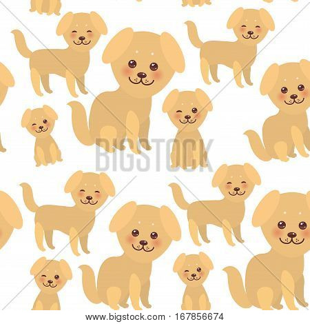 seamless pattern Kawaii funny golden beige dog face with large eyes and pink cheeks boy and girl isolated on white background. Vector illustration