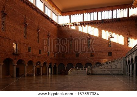 Beautiful interior details at the Stockholm's City Hall Sweden