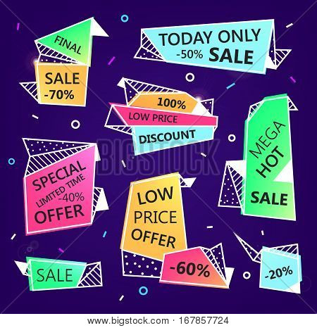 Vector set of sale origami outline banners with textures. Low price offer, mega hot, special offer, discount
