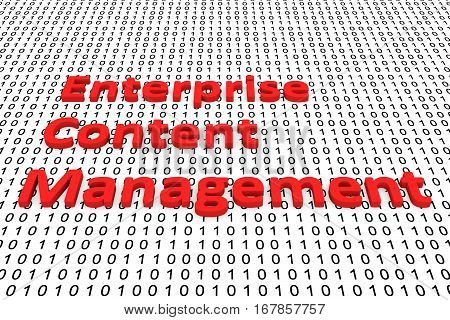 enterprise content management in the form of binary code, 3D illustration poster
