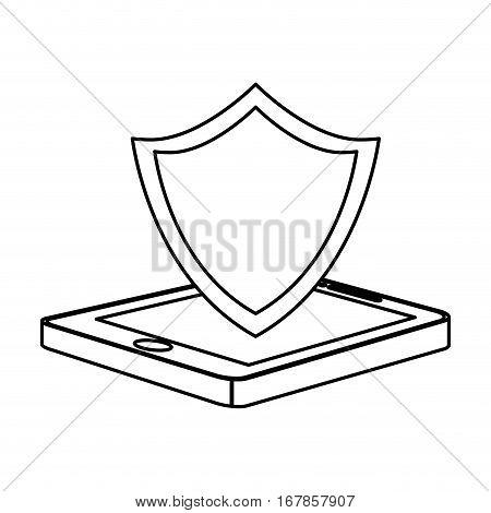 figure shield smartphone hosting icon image, vecto illustration