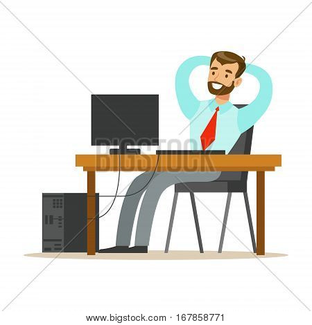 Man Resting And Stretching At His Desk, Part Of Office Workers Series Of Cartoon Characters In Official Clothing. Happy Person Working In The Office Vector Illustration.