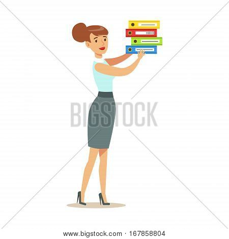 Manager In Blue Vest Puts Pile Of Folders, Part Of Office Workers Series Of Cartoon Characters In Official Clothing. Happy Person Working In The Office Vector Illustration.