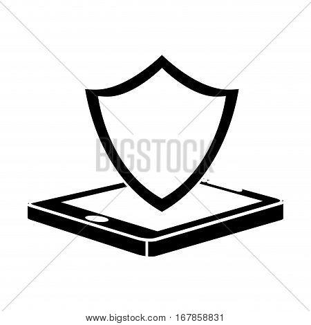 black shield smartphone hosting icon image, vecto illustration