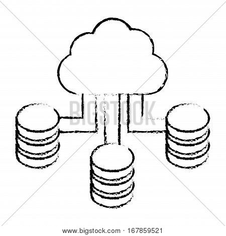 figure cloud hosting data center image, vector illustration