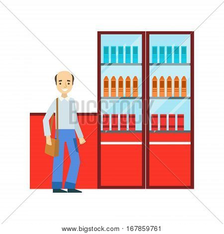 Man Standing Next To Display Case With Srinks Assortment, Smiling Person Having A Dessert In Sweet Pastry Cafe Vector Illustration. Happy Primitive Cartoon Character At Bakery Shop At Lunchtime.