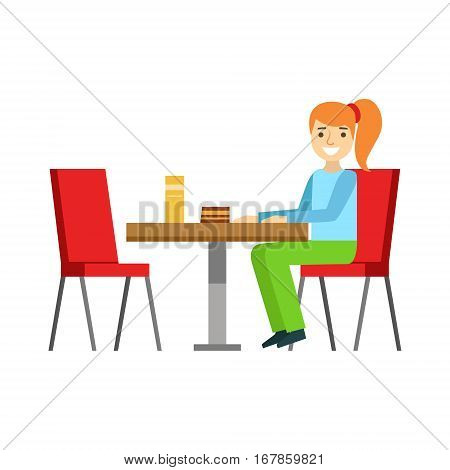 Girl Sitting At The Table Eating A Cake, Smiling Person Having A Dessert In Sweet Pastry Cafe Vector Illustration. Happy Primitive Cartoon Character At Bakery Shop At Lunchtime.