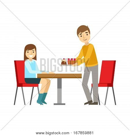 Guy Briniging Cakes To The Girl At The Table, Smiling Person Having A Dessert In Sweet Pastry Cafe Vector Illustration. Happy Primitive Cartoon Character At Bakery Shop At Lunchtime.
