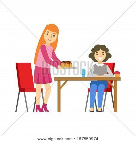 Two Women Sharing A Cake, Smiling Person Having A Dessert In Sweet Pastry Cafe Vector Illustration. Happy Primitive Cartoon Character At Bakery Shop At Lunchtime.
