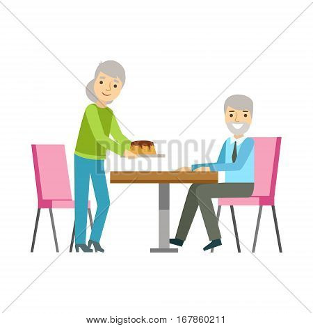 Old Couple Eating Cake At The Table, Smiling Person Having A Dessert In Sweet Pastry Cafe Vector Illustration. Happy Primitive Cartoon Character At Bakery Shop At Lunchtime.