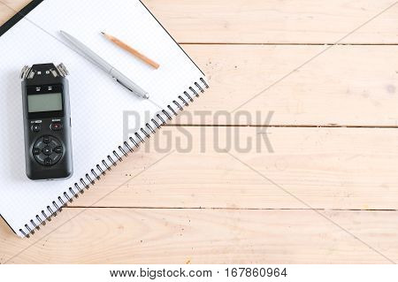 Black Professional Voice Recorder on the table