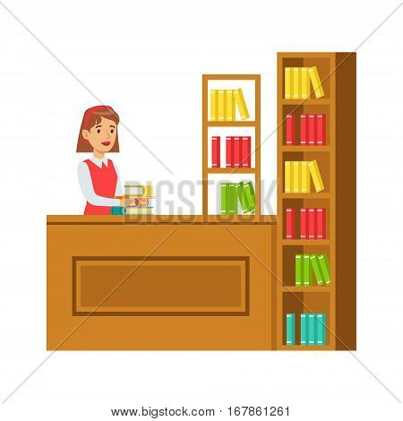Librarian Putting The Books Back On Bookshelf, Smiling Person In The Library Vector Illustration. Simple Cartoon Drawing With Bookworm People Loving To Read And Study In The Library.