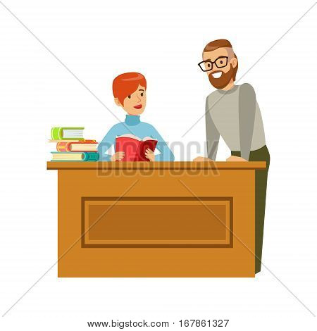 Man Flirting With Woman Reading Book At The Table, Smiling Person In The Library Vector Illustration. Simple Cartoon Drawing With Bookworm People Loving To Read And Study In The Library.