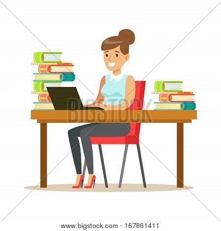 Woman With Lap Top At The Desk Surrounded By Piles Of Books, Smiling Person In The Library Vector Illustration. Simple Cartoon Drawing With Bookworm People Loving To Read And Study In The Library.