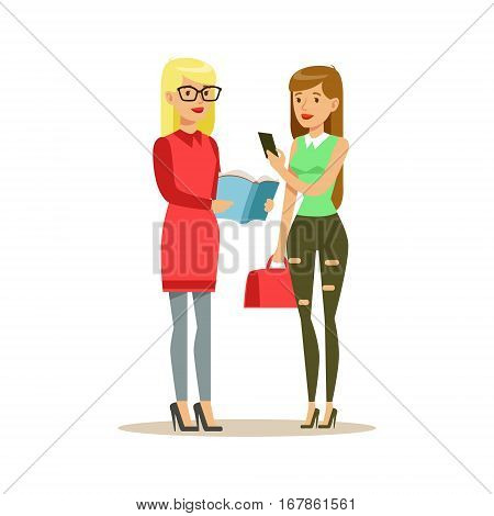 Two Girls Discussing A Book, Smiling Person In The Library Vector Illustration. Simple Cartoon Drawing With Bookworm People Loving To Read And Study In The Library.