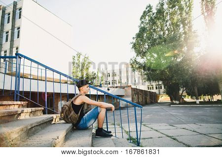 Teenager Walk With Backpack