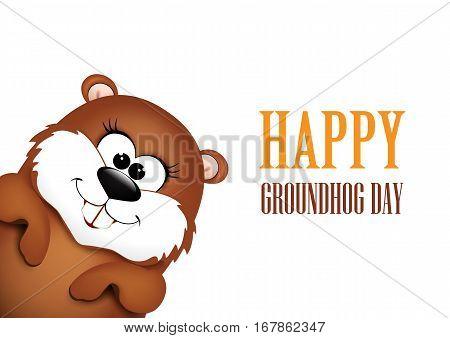 Happy Groundhog Day design. Vector illustration background.