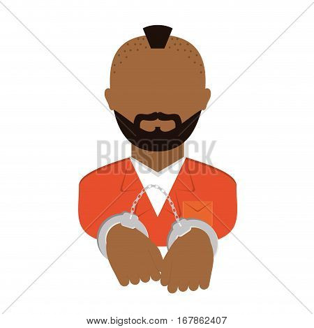 jail prisoner with dark skin icon image vector illustration design